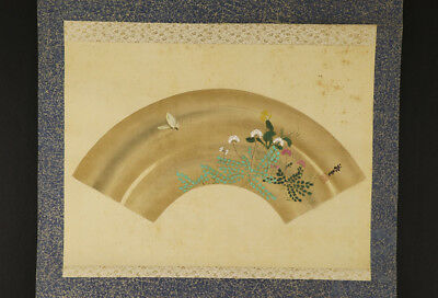 """JAPANESE HANGING SCROLL ART Painting """"Butterfly and Flower""""  #E2912"""