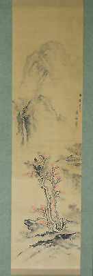 """JAPANESE HANGING SCROLL ART Painting Scenery """"Waterfall"""" Asian antique  #E2907"""