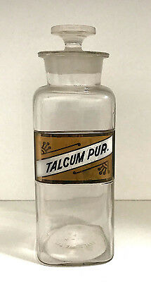 Talcum Apothecary Bottle W.T. Co. Label Under Glass circa 1900