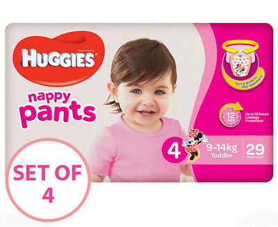 NEW Huggies Nappy Pants For Girls Toddler 9 14kg 29pk Disposable Nappy Pants X4
