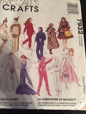 7932 UNCUT MCCALLS Sewing Pattern Barbie 11.5 Doll Clothes Jacket ...