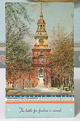 INDEPENDENCE HALL PHILADELPHIA PA. INK BLOTTER  1940s 6-1/2 x 4""