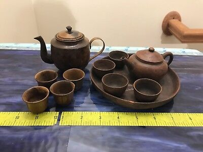 Lot of Vintage Antique Wood and Ceramic Small Teapots and Miniature Cups