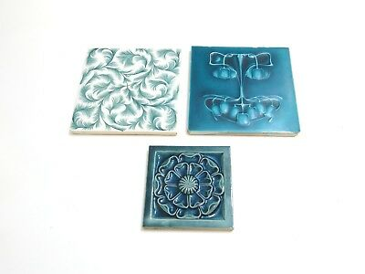 Lot Of 3 Antique / Vintage Ceramic Tiles - J & J G Low Art Tile Works + 2 Others