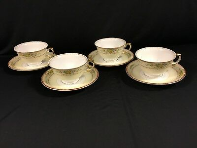 MEITO CHINA 4 CUPS & SAUCERS FOOTED SET Mei882 VINTAGE GOLD EDGE JAPAN EC me1882