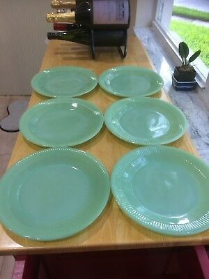 6 Vintage Fire King Jadeite Jane Ray Dinner Plates 9""