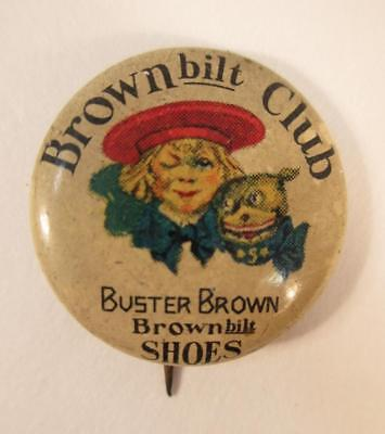Vintage Buster Brown Shoes Pinback Button Brownbilt Club Pin
