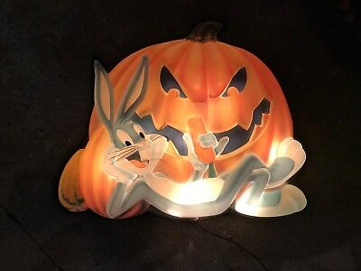 Bugs Bunny Markee Looney Tunes Pumpkin Patch 3D Character Lights Display Vtg '97