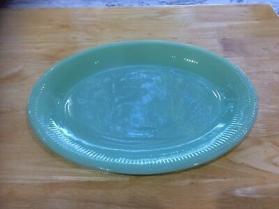 Vintage fire king Jane Ray Jadeite platter 11 3/4""