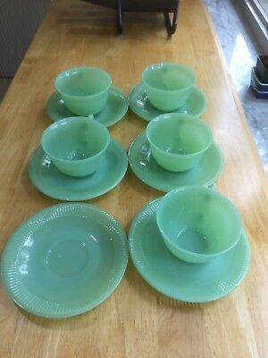 Vintage Fire Kng Jane Ray Jadeite green Cups & Saucers