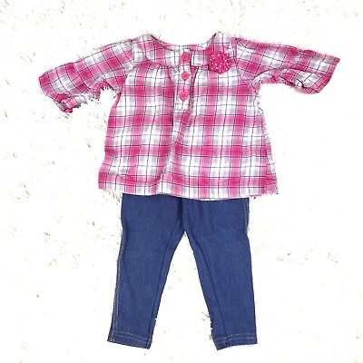Carter's Outfit Baby Girl Size 12 Month Pink Gray Plaid Shirt Top Leggings