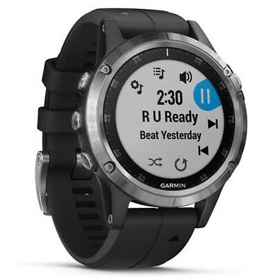 Garmin Fenix 5 Plus - Silver (Black Band) with GEN GARMIN WARR