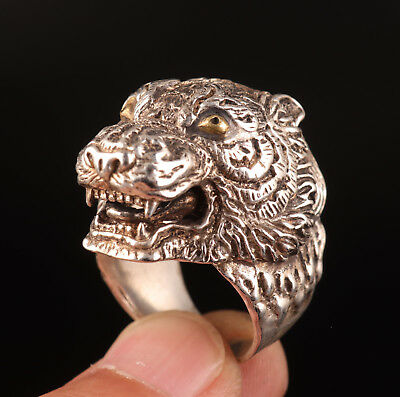 Vintage Man Old Tibetan Silver Ring Tiger Handicraft Men Venomous