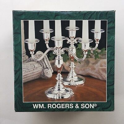 1997 WM Rogers & Son Set of 2, 3-Light Silverplated Candelabrum New In The Box!!