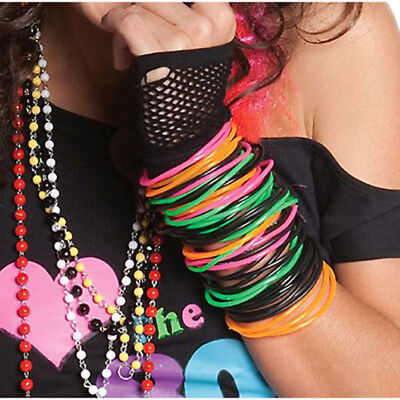 Awesome 80s Pack Of 12 Neon Colours Jelly Bracelets Costume Accessory