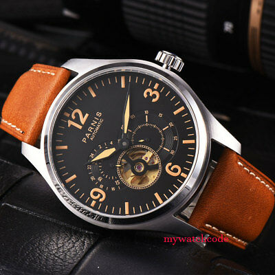 44mm parnis black dial orange date 21 jewels miyota automatic mens watch P817B