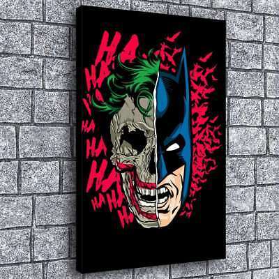 "12""x18""Clown and Batman 2 Painting HD Print on Canvas Home Decor Room Wall Art"