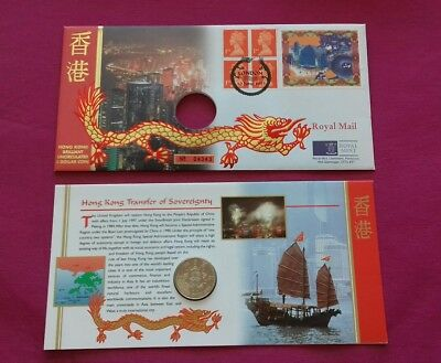 Hong Kong 1997 Handover to China Brilliant Uncirculated $5 Coin stamp cover FDC