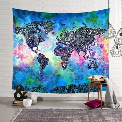 Hanging wall tapestry color world map printed polyester fabric wall boho world map indian tapestry wall hanging mandala art fabric home wall decor gumiabroncs Images