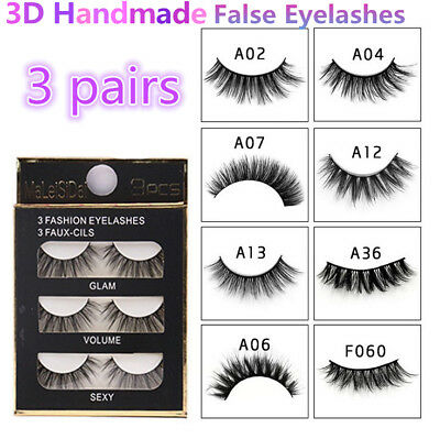 0e30ad4ad90 3 Pairs 100% Real 3D Mink Makeup Cross False Eyelashes Eye Lashes Handmade  //
