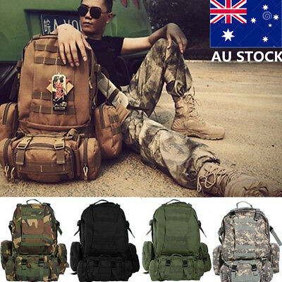 50L Men Large Military Canvas Backpack Camping Cycling Hiking Travel Sport Bag