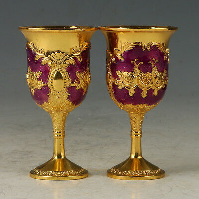 A Pair Of Chinese Exquisite Cloisonne Hand-made Flowers  Wine Cup R0081