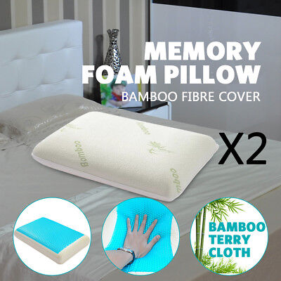 2 Pc Deluxe Density Memory Foam Pillow With Cooling Gel Top With Cover Gel Hotel