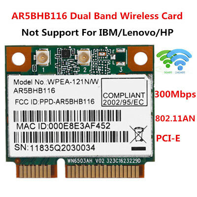 AR5BHB116 300Mbps 2.4/5G Wireless WiFi Card PCI-E 802.11AN For Dell ASUS Toshiba