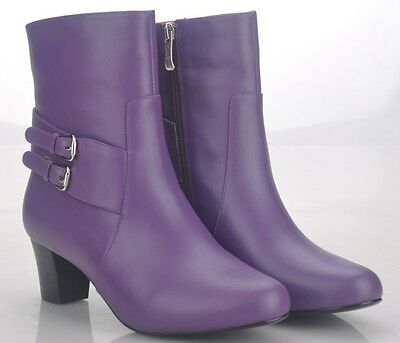 Women's Purple Leather Boots Size EUR 38 & 40 ONLY WITH FREE BELT
