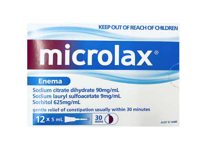 New Microlax Enema 5mL x 12 Constipation Relief