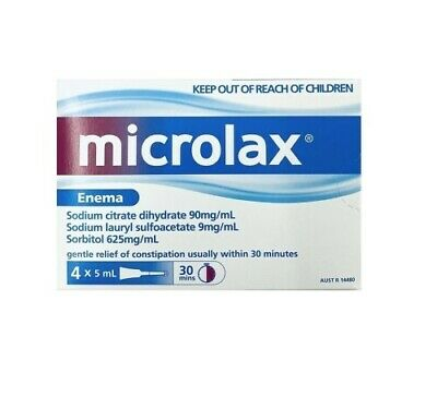 New Microlax Enema 5mL x 4 Constipation Relief