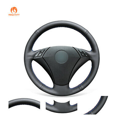 Black Soft Leather Car Steering Wheel Cover for BMW 5 Series E60 E61 2004-2010