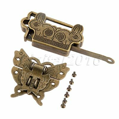 Vintage Fortune Blessing Padlock Lock Key with Butterfly Jewelry Box Latch Clasp