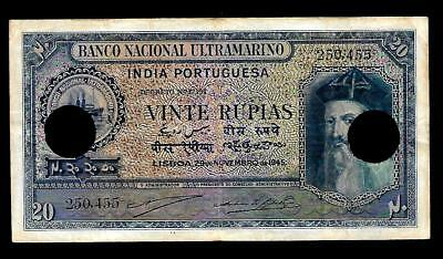 Portuguese India 20 Rupees P38 1945 Indian Ship Portugal Banknote