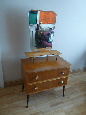 vintage Mid Century, Two drawer, two tiered retro Dressing Table