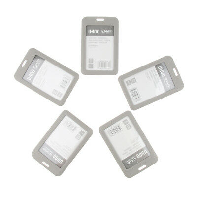 5x Vertical Badge Holder Open Double Sided Pick Card ID Card Pouches -Gray