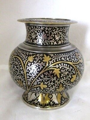 Antique Silver Plated Vase   Silver & Gold Coloured Overlay