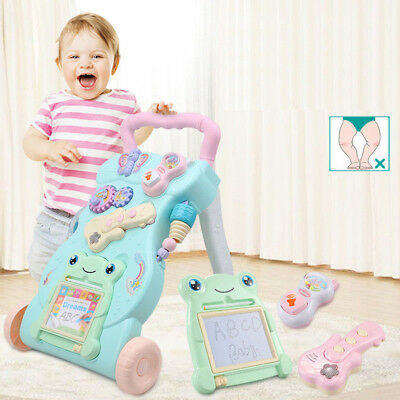 Upgraded 2 In 1 First Steps Baby Walker Sounds and Lights Fun Push Along Walker