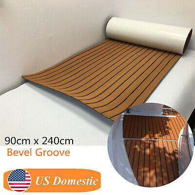 "35""x94"" EVA Faux Teak Decking Mat For Boat Marine Flooring Sheet Brown Beveled"