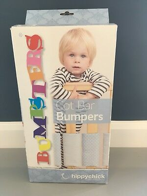 Hippy Chick Cot Bar Bumpers X 8 White And Stone