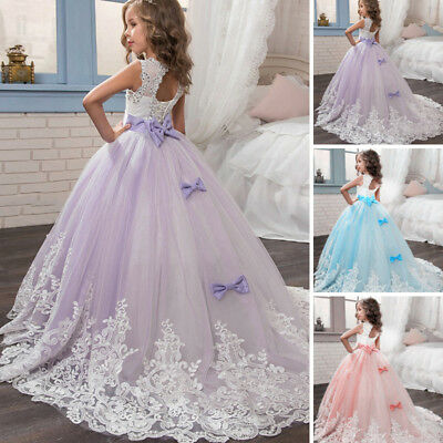 Girls Kids Flower Wedding Bridesmaid Dress Party Pageant Formal Prom Long Gowns