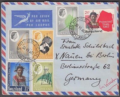 Swaziland 1967 6 Values On Scarce Airmail Cover To Berlin Germany