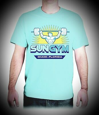 NEW pain and gain sun gym blue  T-SHIRT