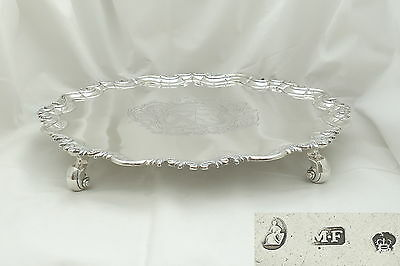 Rare Irish George Ii Hm Sterling Silver 4 Footed Salver 1750