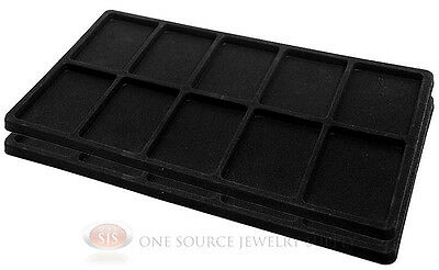 2 Black Insert Tray Liners W/ 10 Compartments Drawer Organizer Jewelry Displays