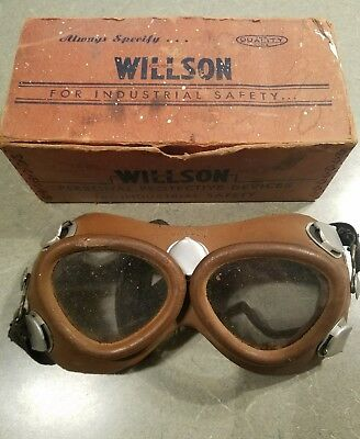 1919 RARE Vintage Willson Safety Goggles Motorcycle Aviation Leather box reading