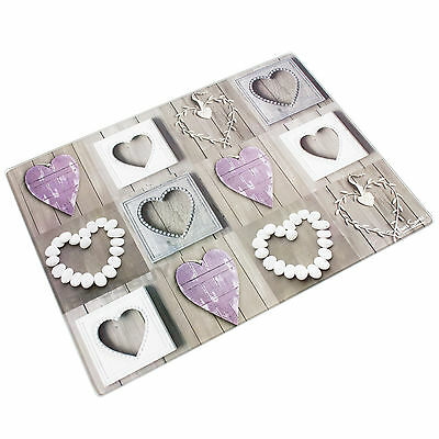 40cm Glass Worktop Shabby Chic Pebble Love Hearts Chopping Board Protector Saver