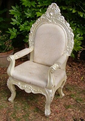 large antique style carved wooden throne chair louis style