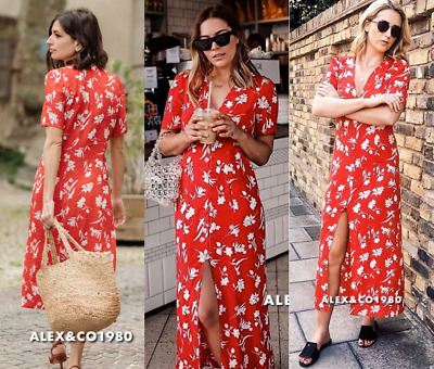 345b575a106 Nwt Zara Ss18 Flowing Printed Long Floral Print Dress Red 2183 054  All Size