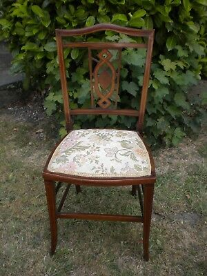 Antique Edwardian inlaid mahogany bedroom / hall chair.